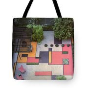A Garden With Colourful Landscaping In Dr Tote Bag
