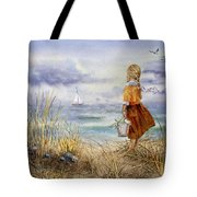 A Girl And The Ocean Tote Bag by Irina Sztukowski