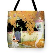 A Girl Sweeping Leaves Tote Bag