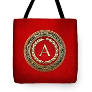 A - Gold Vintage Monogram On Red Leather Tote Bag
