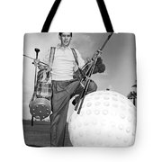 A Golfer With A Giant Ball Tote Bag