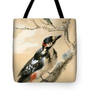 A Great Spotted Woodpecked And Another Small Bird Tote Bag