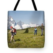 A Group Of Hikers In The Selkirk Tote Bag