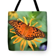 A Gulf Fritillary Butterfly On A Yellow Daisy Tote Bag