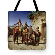 A Gypsy Family On The Road, C.1861 Oil On Canvas Tote Bag