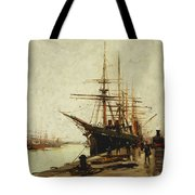 A Harbor Tote Bag by Eugene Galien-Laloue