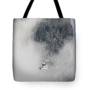 A Heli-ski Helicopter Flies Tote Bag