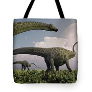 A Herd Of Diplodocus Sauropod Dinosaurs Tote Bag