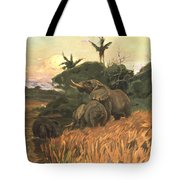 A Herd Of Elephants By Moonlight Tote Bag