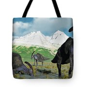 A Herd Of Parasaurolophus Dinosaurs Tote Bag
