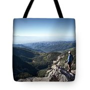 A Hiker Looks At The View Tote Bag