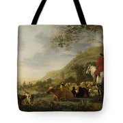 A Hilly Landscape With Figures Tote Bag