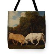 Bulls Fighting Tote Bag