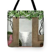 A House And Garden Cover Of A Seaside Patio Tote Bag