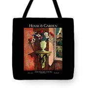 A House And Garden Cover Of A Vase Of Flowers Tote Bag