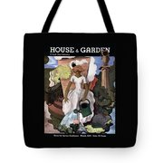 A House And Garden Cover Of A Woman Watering Tote Bag