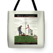 A House And Garden Cover Of People Planting Tote Bag