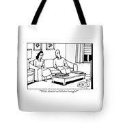 A Husband Talks To His Wife In Their Living Room Tote Bag
