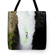 A Kayaker Takes The Plunge On Huge Tote Bag