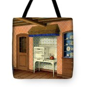 A Kitchen With An Old Fashioned Oven And Stovetop Tote Bag