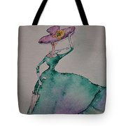 A Lady On A Windy Day Tote Bag