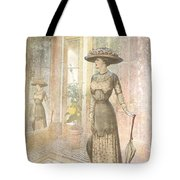 A Lady's Curious Reflection Tote Bag