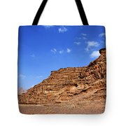 A Landscape Of Rocky Outcrops In The Desert Of Wadi Rum Jordan Tote Bag