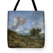 A Landscape With A High Dune And Peasants On A Road Tote Bag
