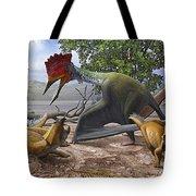A Large Bakonydraco Pterosaur Attacking Tote Bag by Sergey Krasovskiy