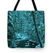 A Leaning Tree Over The Little Naches River Tote Bag