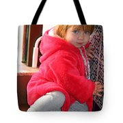 A Little Girl In Red Tote Bag