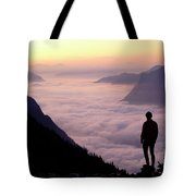 A Lone Hiker Above The Clouds Tote Bag
