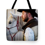 A Male Ranch Hand In A Cowboy Hat Tote Bag