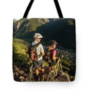 A Man And A Woman Looking At The View Tote Bag