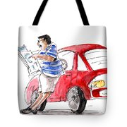 A Man And His Car And His Newspaper Tote Bag