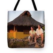 A Man And Woman Enjoy Sunset Tote Bag