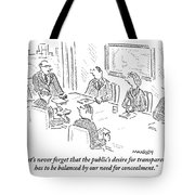 A Man At A Conference Table Addresses Five Tote Bag