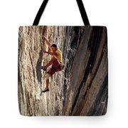 A Man Climbing A Big Wall In El Potrero Tote Bag