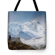 A Man Contemplates The Size Of Kanchenjunga Tote Bag