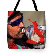 A Man Drinking Water Tote Bag