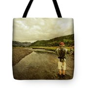 A Man Flyfishing On A River Tote Bag