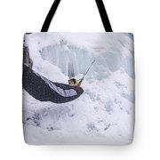 A Man Hangs In A Hammock Sleeping Bag Tote Bag