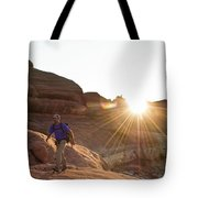 A Man Hiking In The Needles District Tote Bag