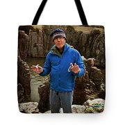 A Man Holds Climbing Gear And Smiles Tote Bag