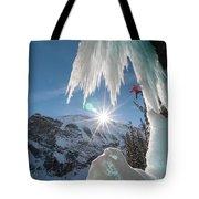 A Man Ice Climbing Louise Falls Tote Bag