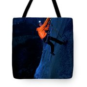 A Man Jumaring To A Route On El Cap Tote Bag