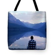A Man Looks At The Mountains Tote Bag