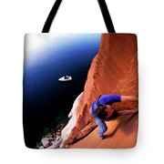 A Man Rock Climbing Tote Bag
