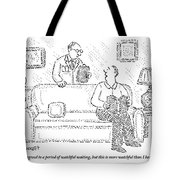 A Man Sits On A Living Room Couch Tote Bag