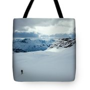 A Man Ski Touring Near Icefall Lodge Tote Bag
